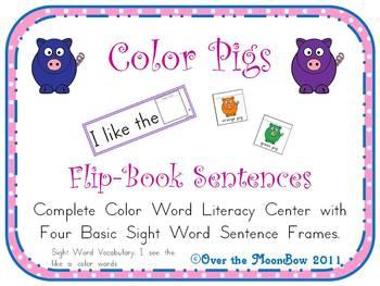 Color Pigs Flip-Book Sentences