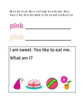 Color Pink Reading Riddles Word Clues Emergent Reader Inte
