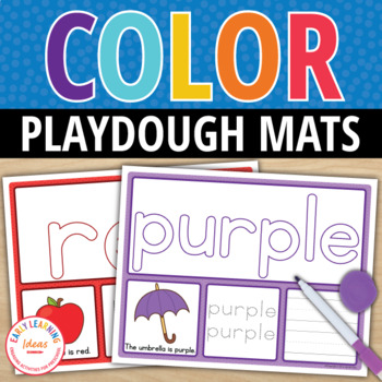 Color Words Play Dough Activity Mats : Multi-Sensory Color Word Practice