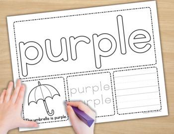 Color Words Play Dough Activity Mats : Multi-Sensory Color Word Practice