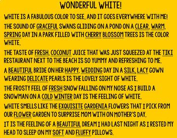 Color Poem Descriptive Writing