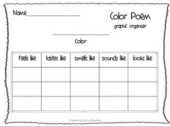 Color Poem Graphic Organizer