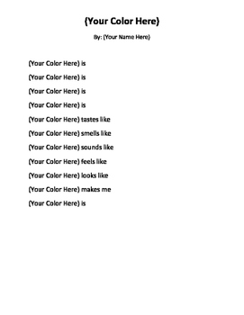 Color Poem Poetry Unit