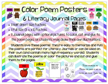 Color Poems & Literacy Journal Pages