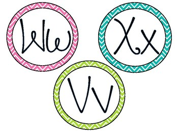 Color Pop Chevron Word Wall Letters