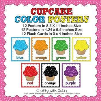 Color Poster Classroom Decor in Cute Cupcake Drawing