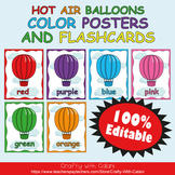 Color Poster Classroom Decor in Hot Air Balloons Theme - 100% Editble