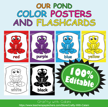 Color Poster Classroom Decor in Our Pond Theme - 100% Editble