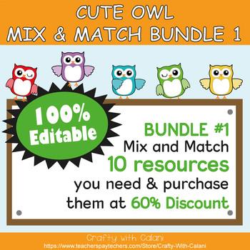 Color Poster Classroom Decor in Owl Theme - 100% Editble