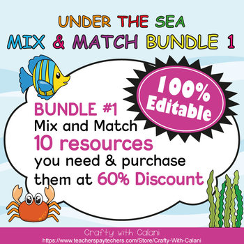 Color Poster Classroom Decor in  Under The Sea  Theme - 100% Editble