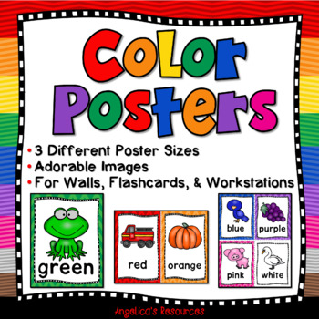 Color Posters: 3 Sizes - For Walls, Flashcards, and Workstations - Class Decor