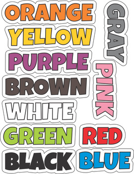Color  Word Wall Cards, Posters