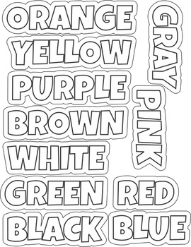 Color  Word Wall Cards, Posters Black & White Version