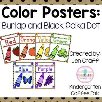 Color Posters: Burlap and Black Polka Dots