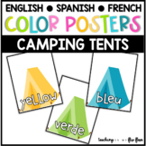 Color Posters:  Camping Tents Theme in ENGLISH, SPANISH & FRENCH