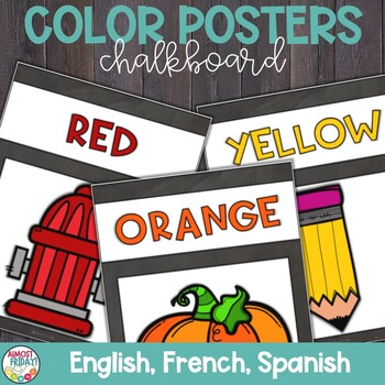 Color Posters with Chalkboard in English, Spanish, and French
