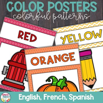 Color Posters with Colorful Patterns in English, Spanish, and French