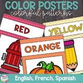 Color Posters with Colorful Patterns in English, Spanish,