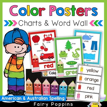 Color Posters, Charts & Word Wall (US & Australian Spelling)