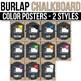Color Posters - EDITABLE, Burlap Chalkboard Classroom Decorations