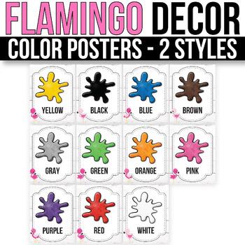Color Posters EDITABLE Flamingo Classroom Decorations Flamingo Classroom Decor