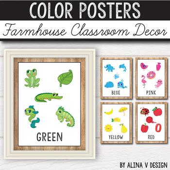 Color Posters - Farmhouse Classroom Decor - Vintage Classroom Decor