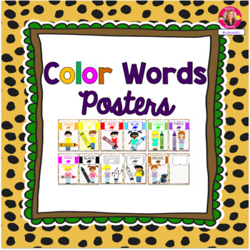 Color Words Posters {Jungle-Safari Themed}