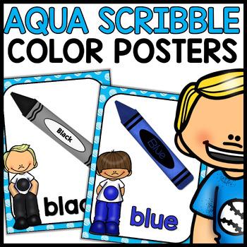 Color Posters MIX AND MATCH (AQUA Polka Dot Scribble)
