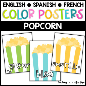 Color Posters:  Popcorn Theme in ENGLISH, SPANISH & FRENCH