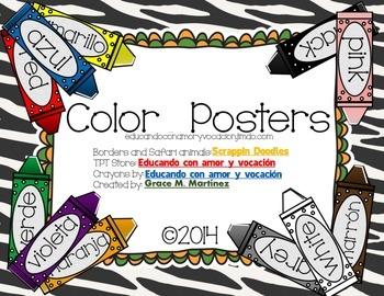 Color Posters Safari Theme (Spanish & English)