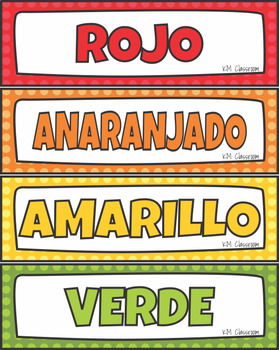 Color  Word Wall Cards, Posters Spanish Version Los Colores