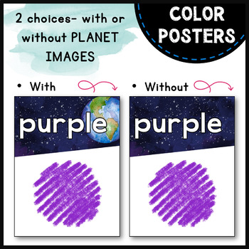 Color Posters - Watercolor Space Galaxy Theme - Classroom Decor