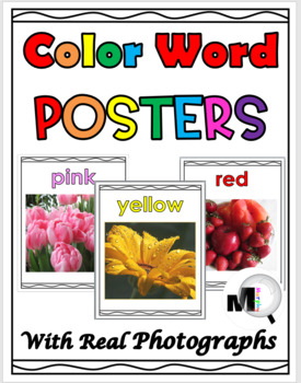 Color Word Posters Classroom Decor with Real Photos