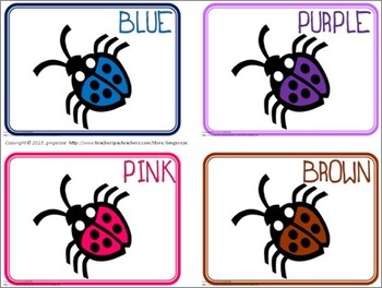 Color Posters, Word Wall Words, and Booklet - Ladybugs #1 Theme