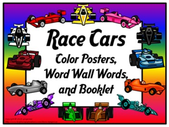 Color Posters, Word Wall Words, and Booklet - Race Car Theme
