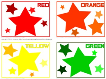 Color Posters, Word Wall Words, and Booklet - Star Theme