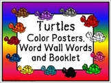 Color Posters, Word Wall Words, and Booklet - Turtle Theme