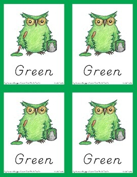 Owl Color Posters and Flash Card Pack (D'Nealian Style Print)