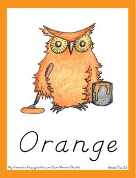 Color Posters and Flash Card Pack (DN Style) - Owl Theme