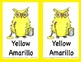 Color Posters and Flash Cards with English and Spanish Words - Owl Theme