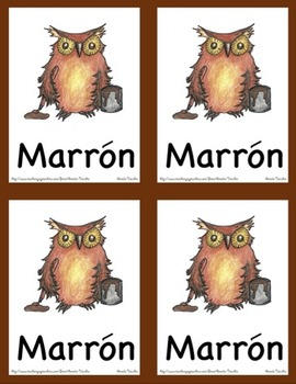 Color Posters and Flash Cards with Spanish Words - Owl Theme