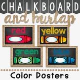 Color Posters in Chalkboard and Burlap