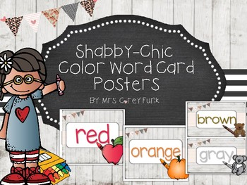 Shabby Chic Color Word Card Posters