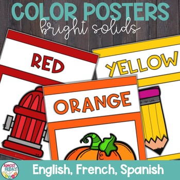 Color Posters with Bright Solid Colors in English, Spanish, and French