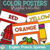 Color Posters with Bright Solid Colors in English, Spanish