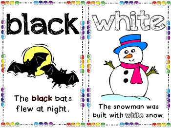 Color Posters with Color Words, Color Picture, and Sentence with Color Word