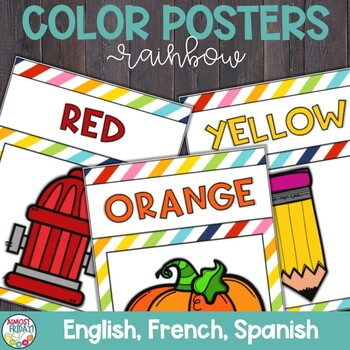 Color Posters with Colorful Stripes in English, Spanish, and French