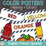 Color Posters with Navy and Lime in English, Spanish, and French