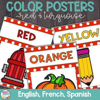 Color Posters with Red and Turquoise in English, Spanish, and French