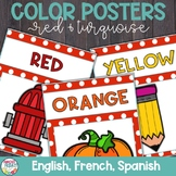 Color Posters with Red and Turquoise in English, Spanish,